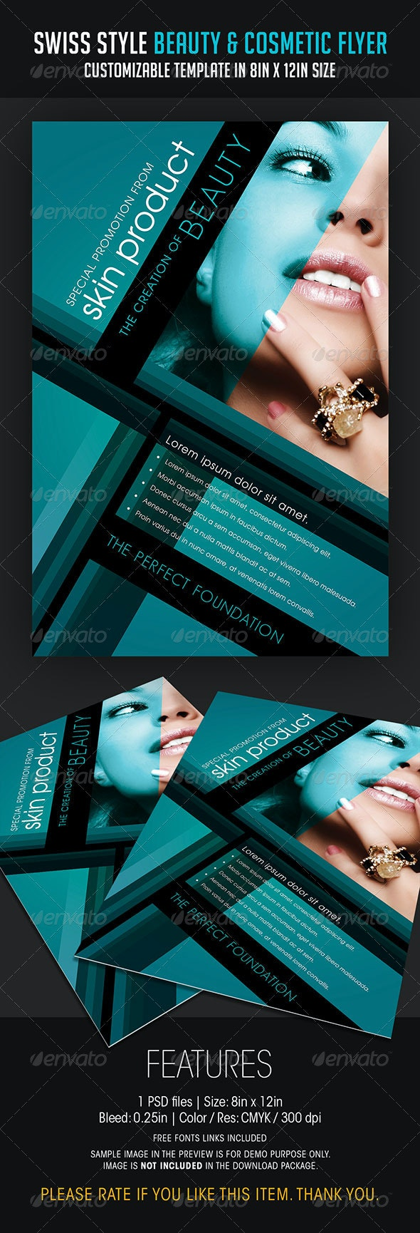 Swiss Style Beauty and Cosmetic Flyer - Flyers Print Templates
