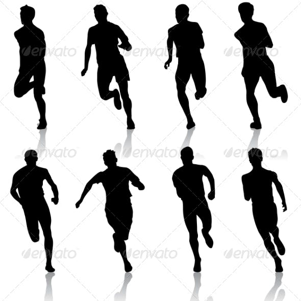 Set of Running Silhouettes