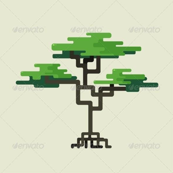 Stylized Geometric Design of Green Trees