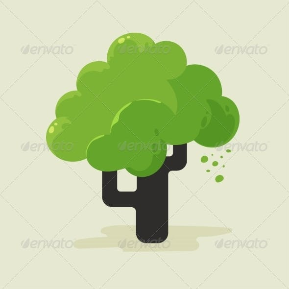 Illustration of a Flat Tree with Green Foliage