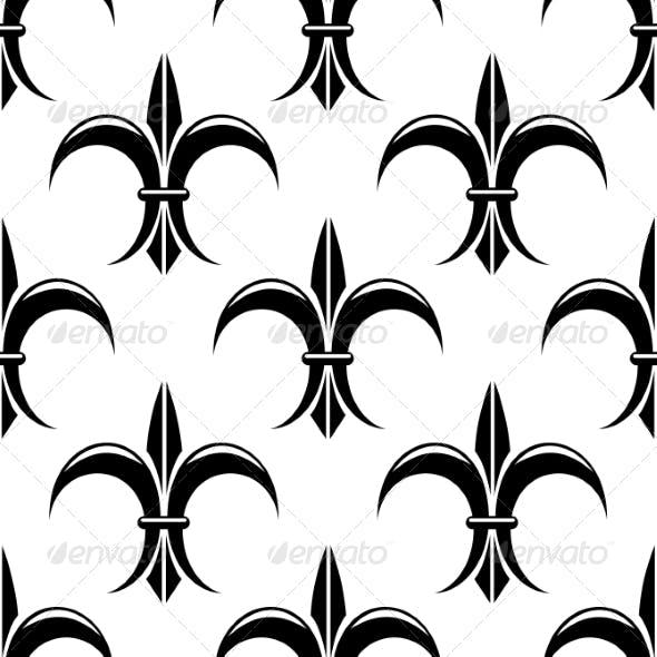 Black and White Fleur de Lys Seamless Pattern
