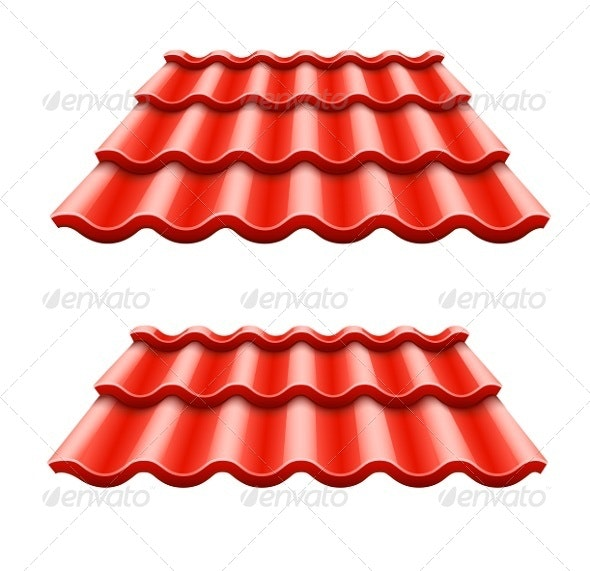 Red Corrugated Tile Element of Roof - Man-made Objects Objects