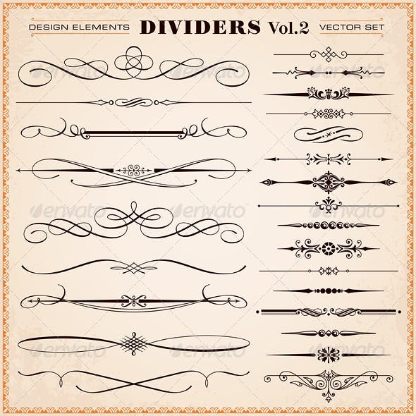 Vector Design Elements, Dividers And Dashes