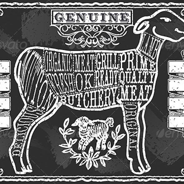 Vintage Blackboard of English Cut of Lamb