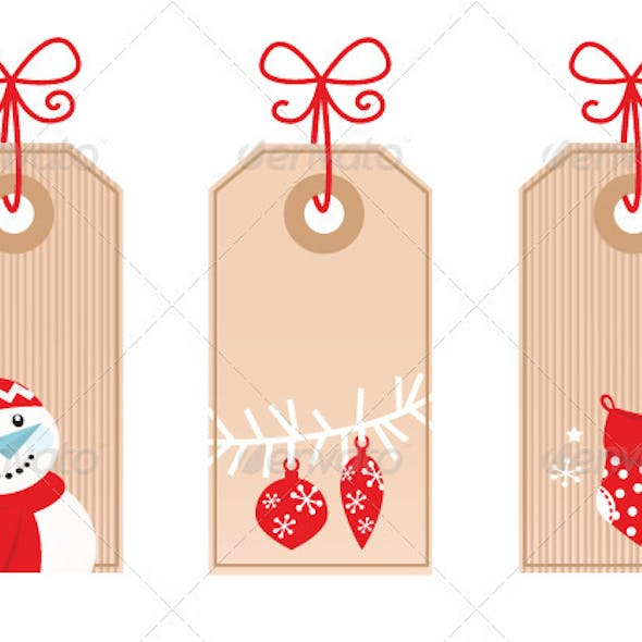 Retro Christmas Gift Tags isolated on white - red