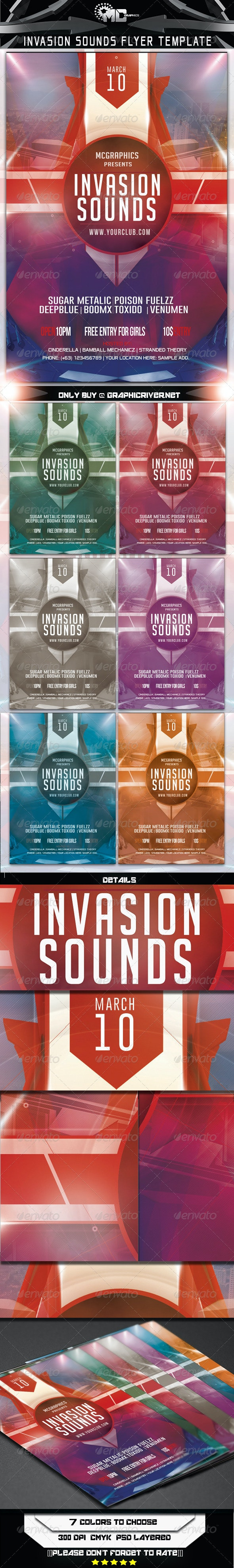 Invasion Sounds Flyer Template - Clubs & Parties Events