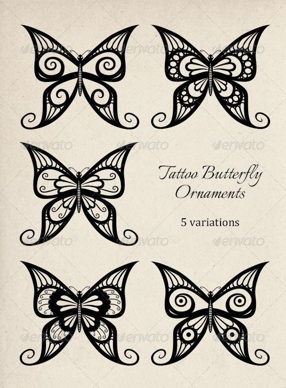 Tattoo Butterfly Ornaments - Tattoos Vectors