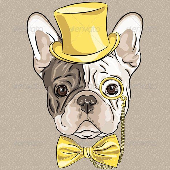 Vector hipster dog French Bulldog breed