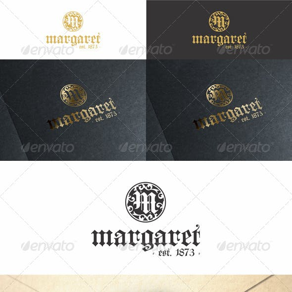M Vintage Monogram Fashion Logo