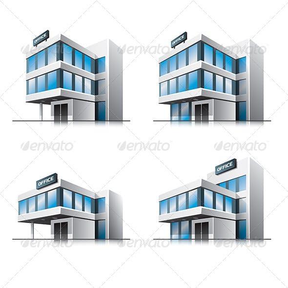 Four Cartoon Office Buildings