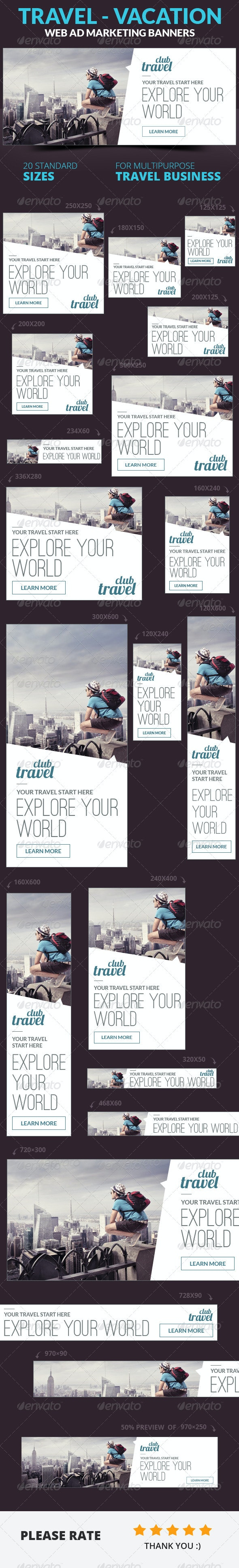 Travel - Vacation Web Ad Marketing Banners - Banners & Ads Web Elements