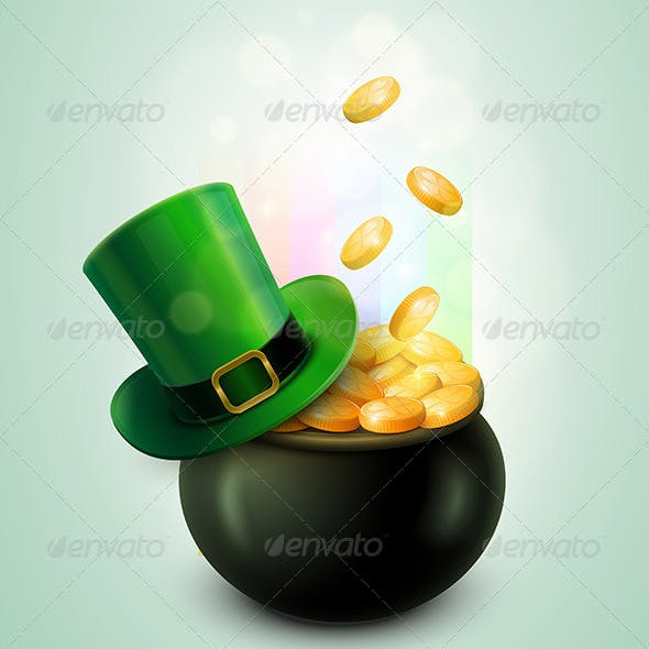 Pot of Gold and Leprechaun Hat