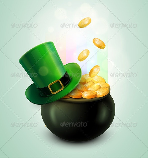 Pot of Gold and Leprechaun Hat - Seasons/Holidays Conceptual