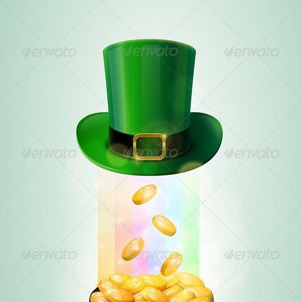 Pot of Gold and Green Leprechaun Hat