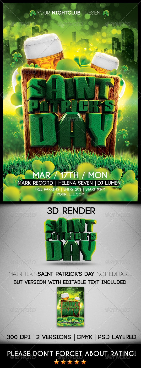 Saint Patrick's Day Flyer Template - Clubs & Parties Events