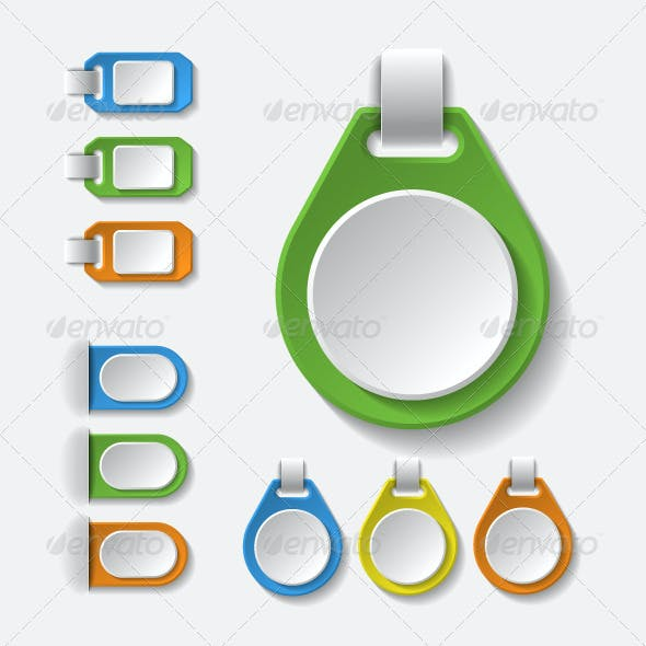Set of Colorful Blank Badges, Tags and Banners