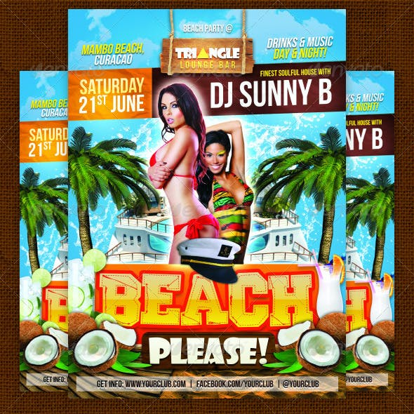Beach Please Party Flyer Template