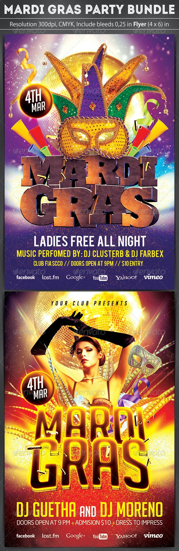 Mardi Gras Flyer Bundle 2 in 1 - Clubs & Parties Events