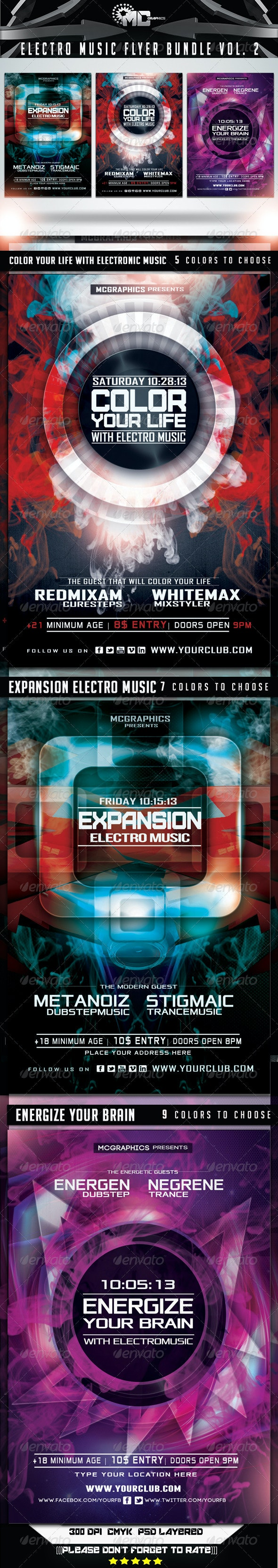 Electro Music Flyer Bundle Vol. 2 - Flyers Print Templates