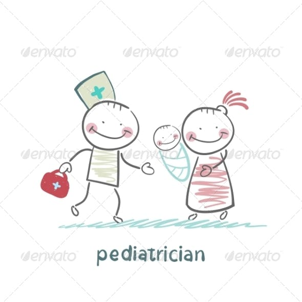 Pediatrician Stands Next to Mother with Sick Child