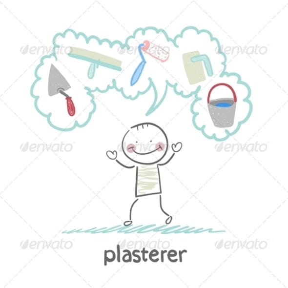 Plasterer Thinks About His Instruments