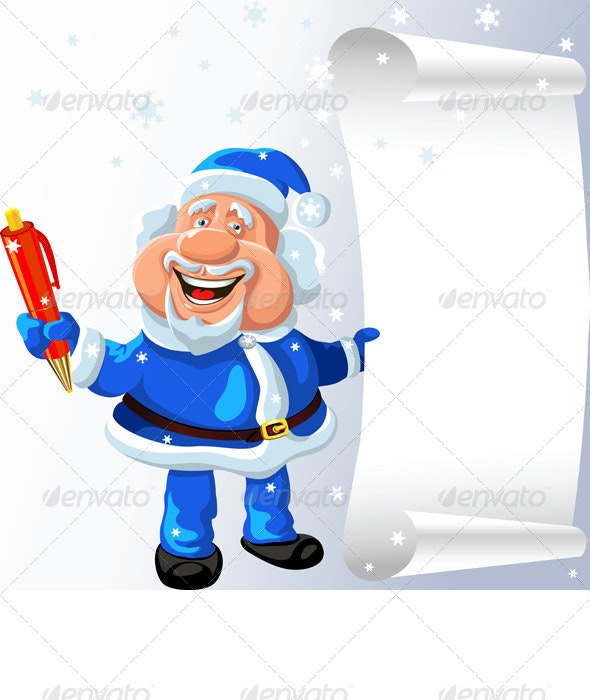 Santa Claus with a Pen and a Scroll - Christmas Seasons/Holidays