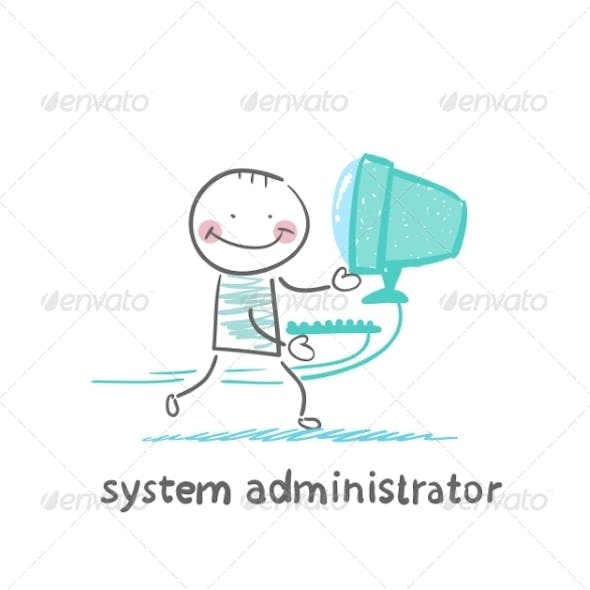 System Administrator Carries Computer
