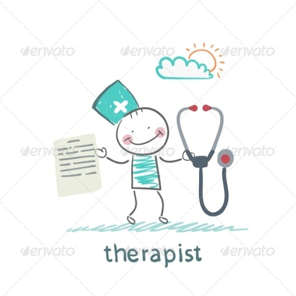 Therapist with a Folder and Stethoscope