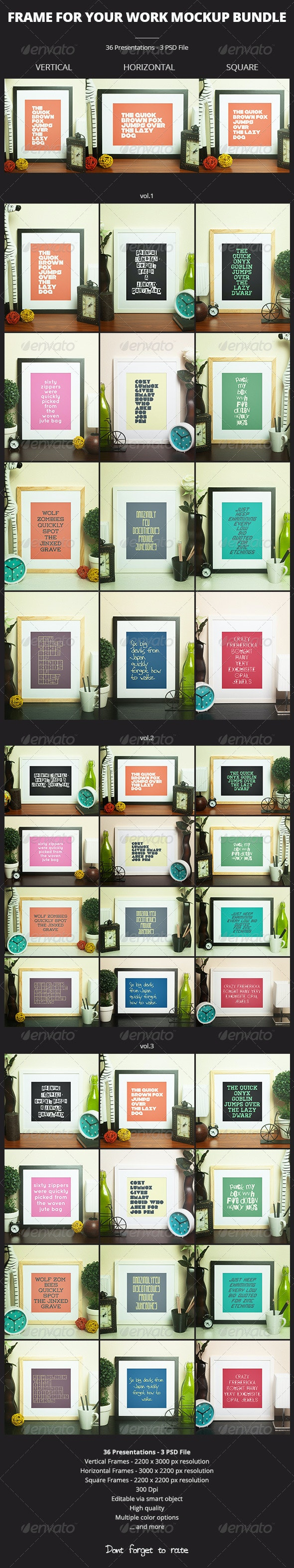Frame For Your Work Mockup Bundle - Print Product Mock-Ups