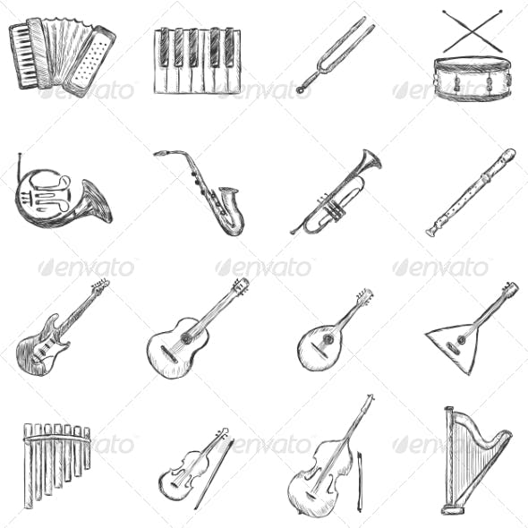 Set of Sketch Musical Instruments Icons