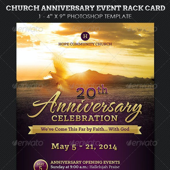 Church Anniversary Events Rack Card Template