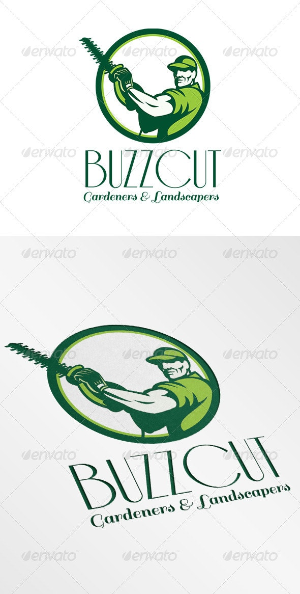 Buzz Cut Gardeners and Landscapers Logo - Humans Logo Templates