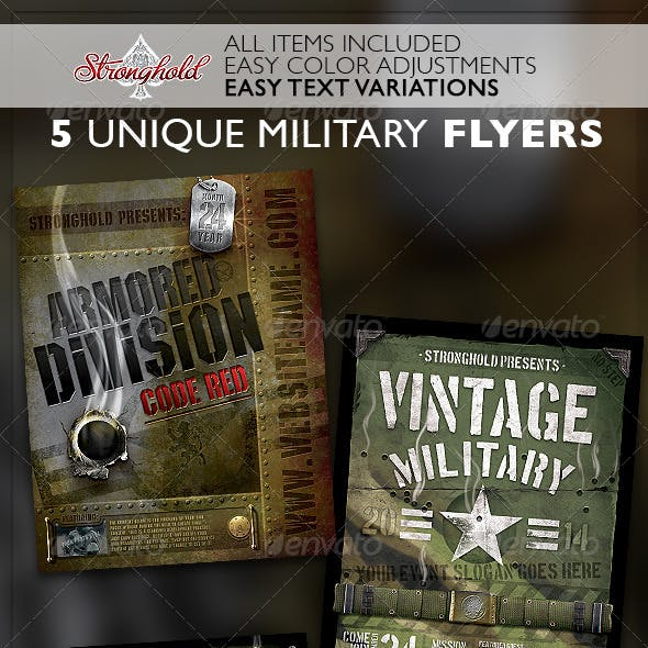 Vintage Military Flyer Template Bundle