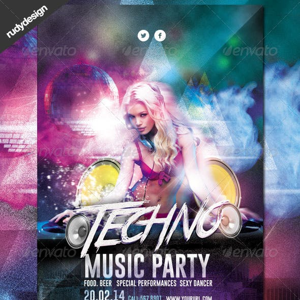 Techno DJ Music Party Flyer Design