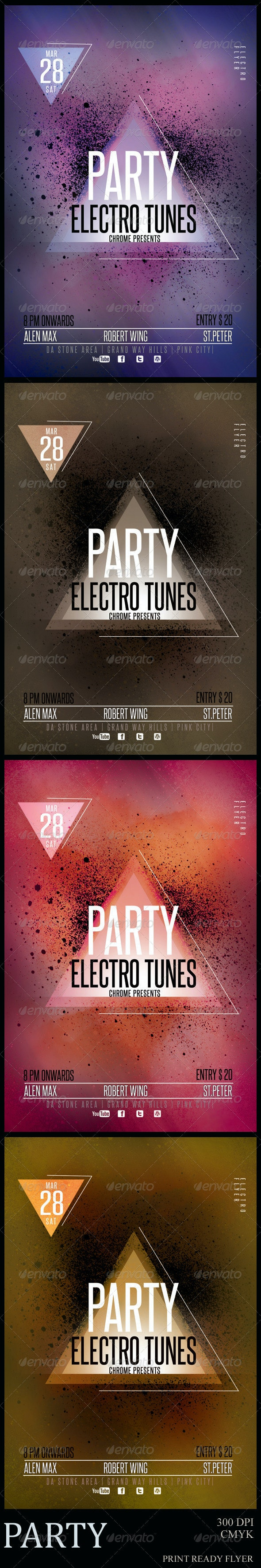 Party Electro Tunes Flyer Template - Clubs & Parties Events