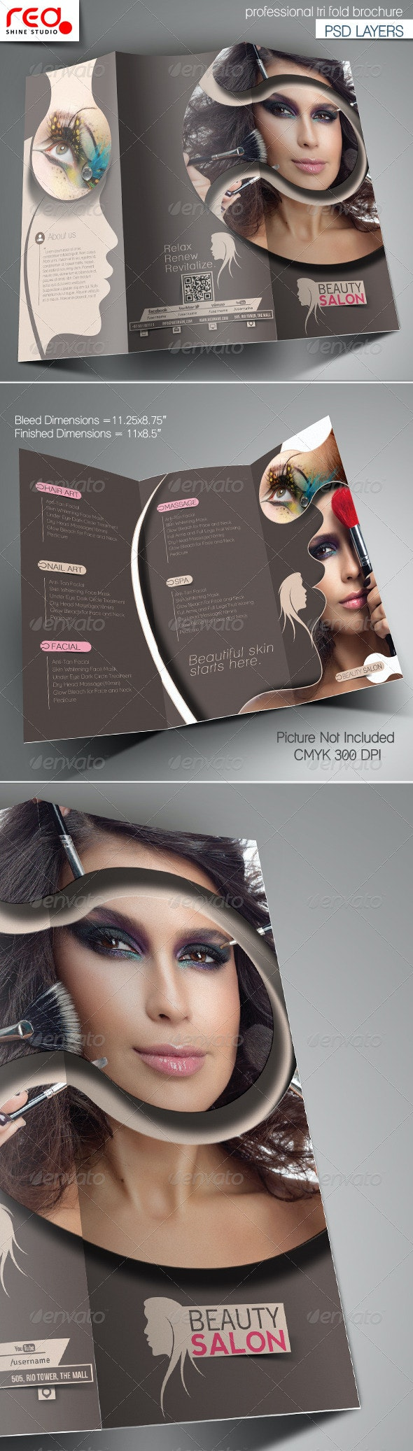 Beauty Salon Promotion Trifold Brochure Template  - Corporate Brochures