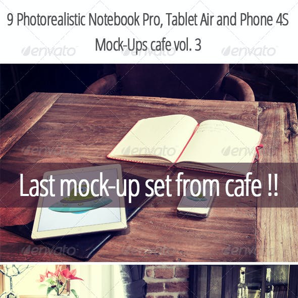 9 Photorealistic Device Mock-Ups in Cafe Vol.3