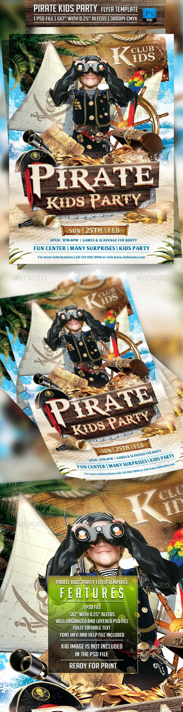 Pirate Kids Party Flyer Template - Flyers Print Templates