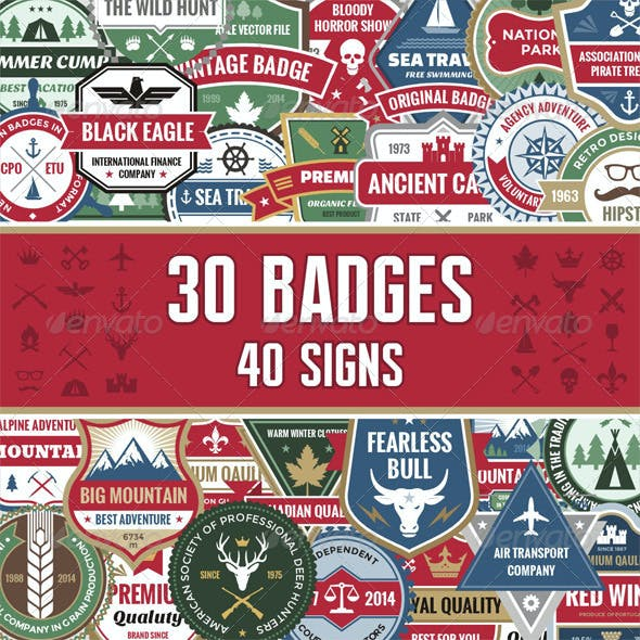 30 Badges & 40 Signs