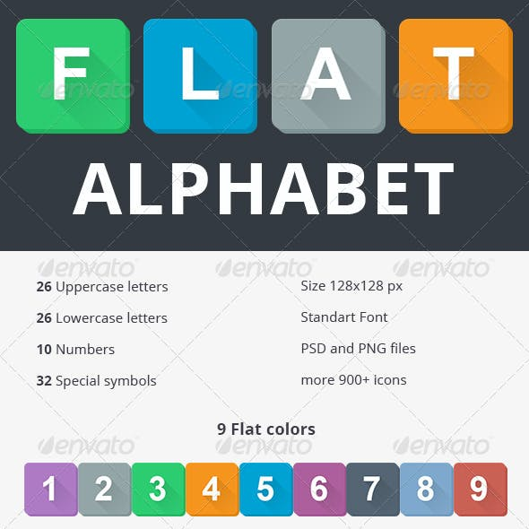 Flat Alphabet in 9 Colors (with Long Shadow)