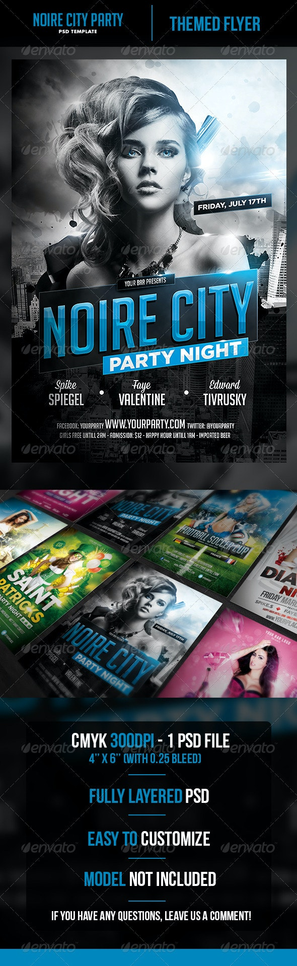 Noire City Party Flyer Template - Clubs & Parties Events