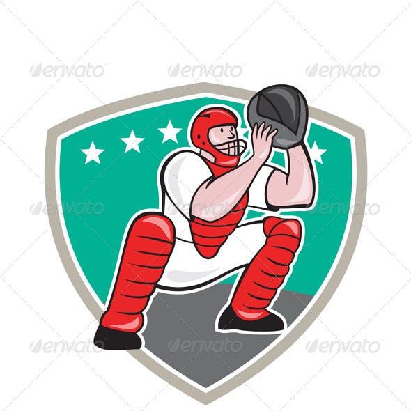 Baseball Catcher Shield Cartoon