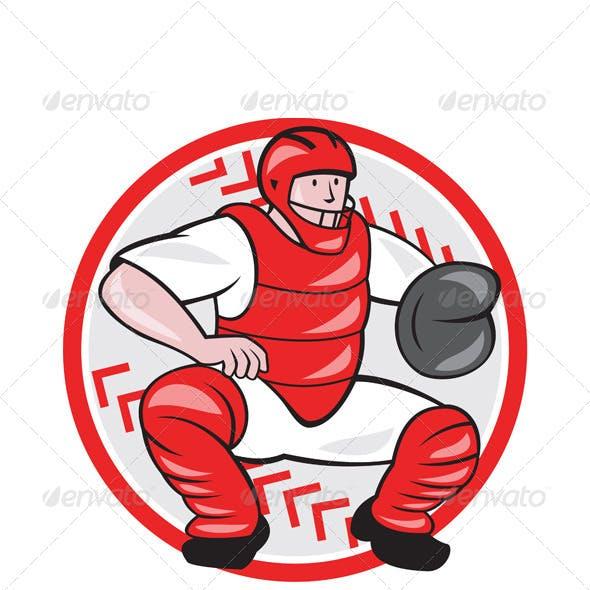 Baseball Catcher Catching Cartoon