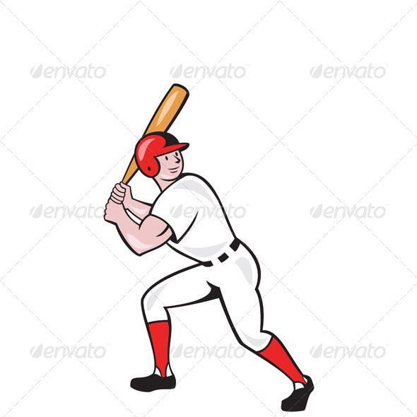 Baseball Player Bat Side Isolated Cartoon