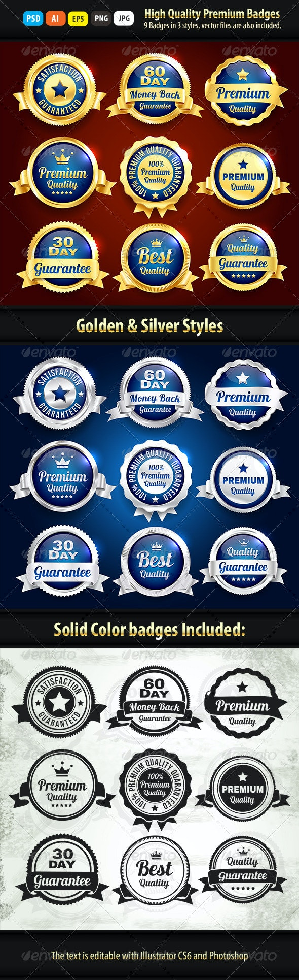 Gold And Silver Premium Quality Badges - Badges & Stickers Web Elements