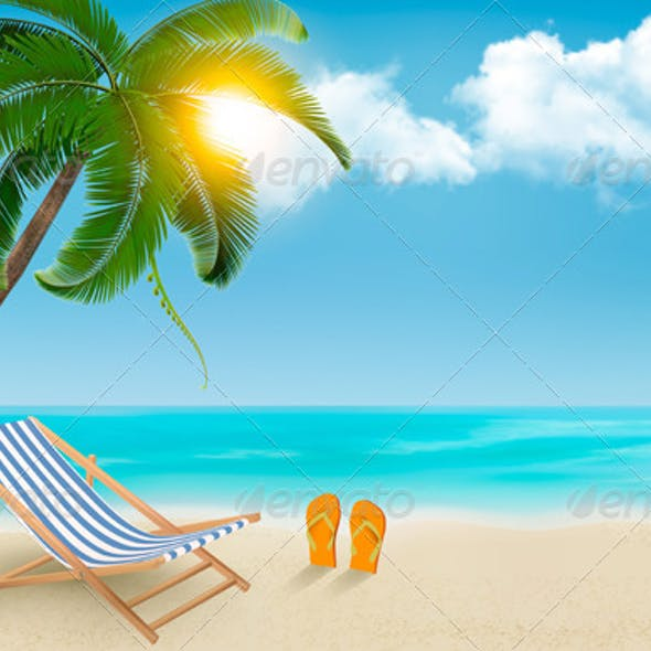 Seaside Background with a Beach Chair and Palm