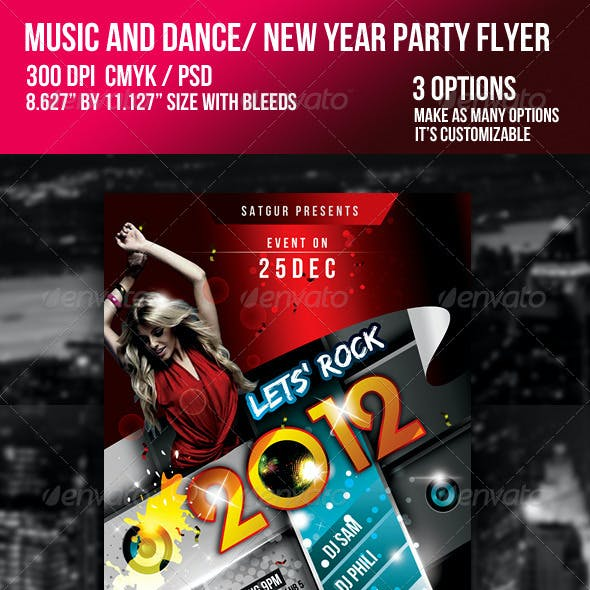 2011 New Year Dance Music Party Night Flyer