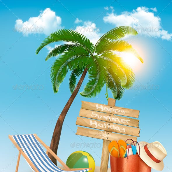 Travel Background with Tropical Island