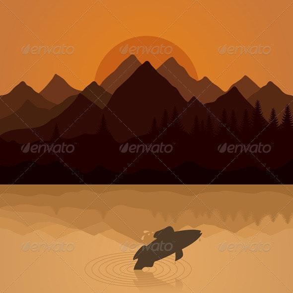 Fish on lake - Landscapes Nature