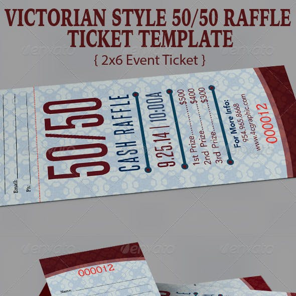 Victorian Style Fifty Fifty Ticket Template